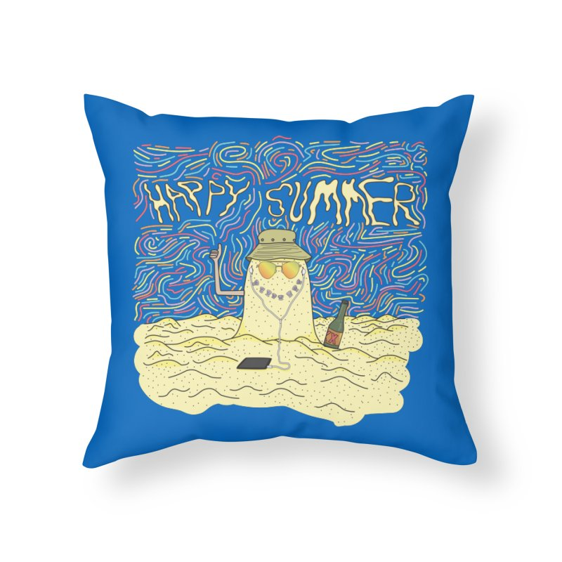 Happy Summer Home Throw Pillow by Lanky Lad Apparel