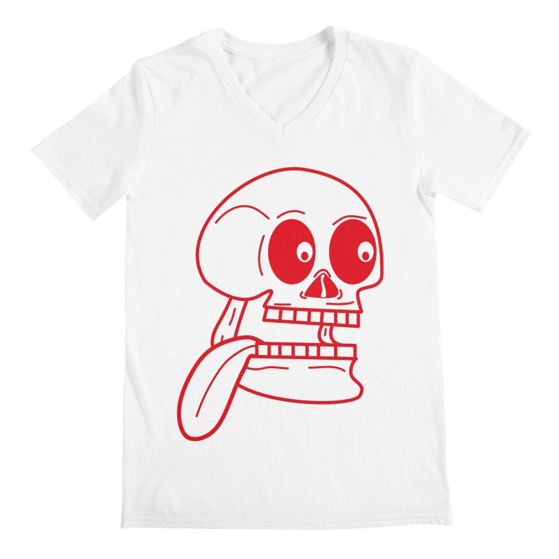 The Eager Skeleton Men's V-Neck by Lanky Lad Apparel