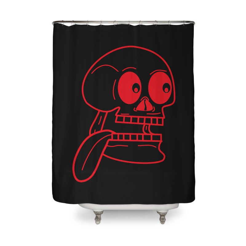 The Eager Skeleton Home Shower Curtain by Lanky Lad Apparel