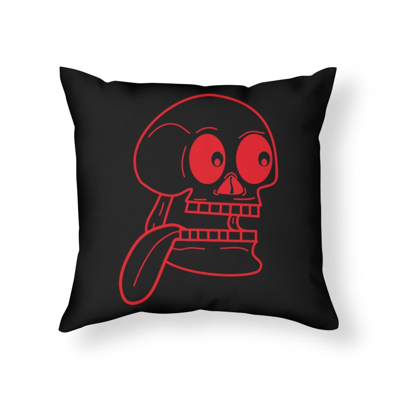 The Eager Skeleton Home Throw Pillow by Lanky Lad Apparel