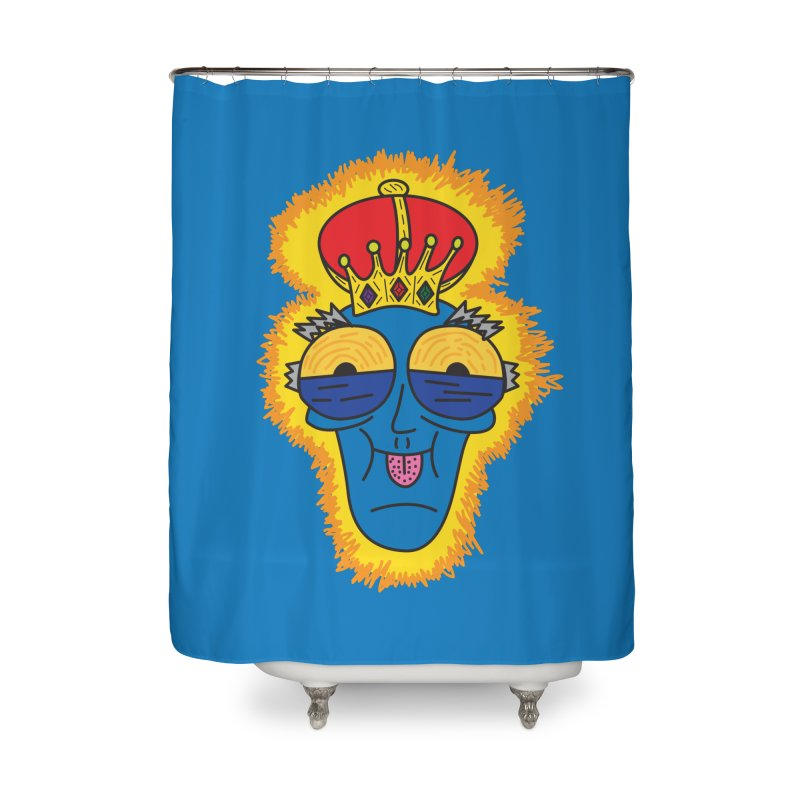 The Happy Blue King Home Shower Curtain by Lanky Lad Apparel