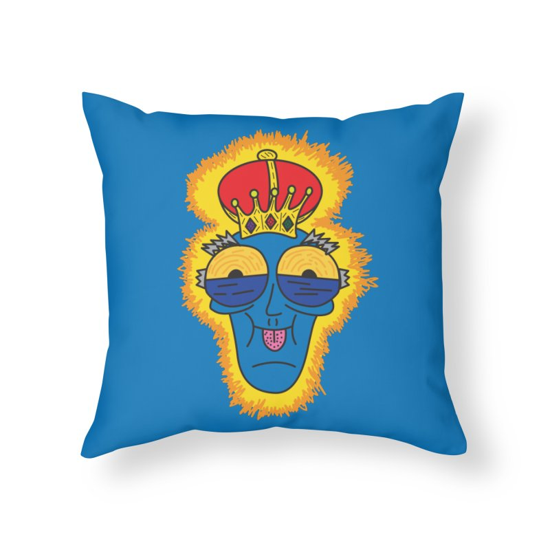 The Happy Blue King Home Throw Pillow by Lanky Lad Apparel