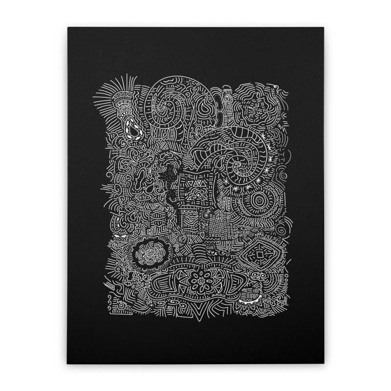 Tribal Doodle Home Stretched Canvas by Lanky Lad Apparel