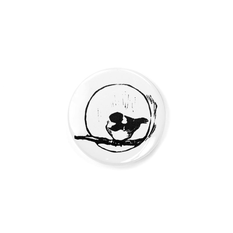 Chickadee Linocut print Accessories Button by LauraStockwell's Artist Shop