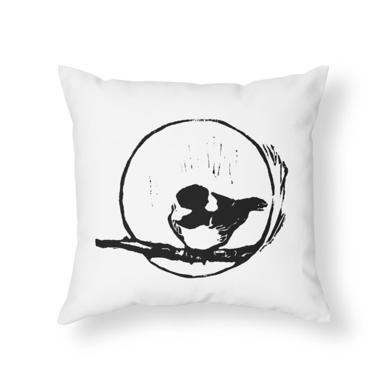 Chickadee Linocut print Home Throw Pillow by LauraStockwell's Artist Shop