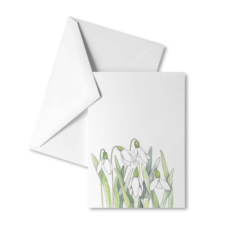 Snowdrops Accessories Greeting Card by LauraStockwell's Artist Shop