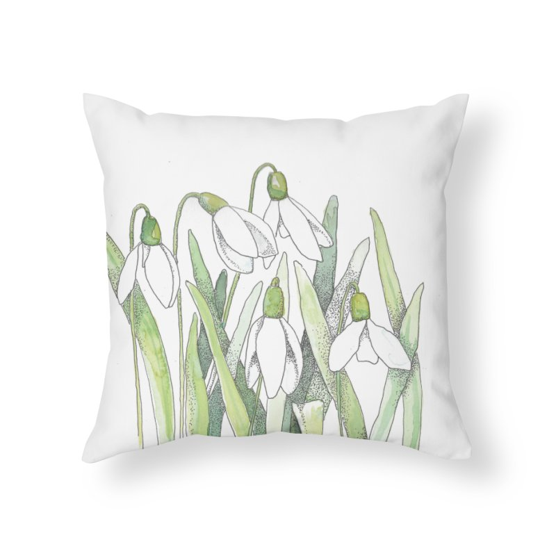 Snowdrops Home Throw Pillow by LauraStockwell's Artist Shop