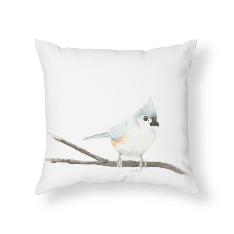 Tufted Titmouse Home Throw Pillow by LauraStockwell's Artist Shop