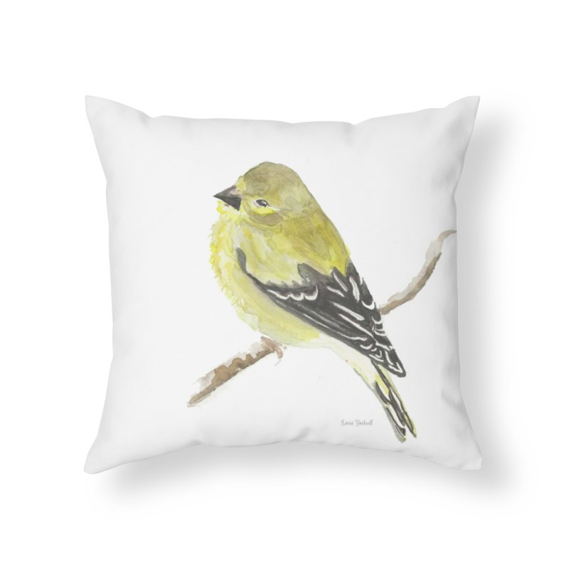 Winter Goldfinch Home Throw Pillow by LauraStockwell's Artist Shop