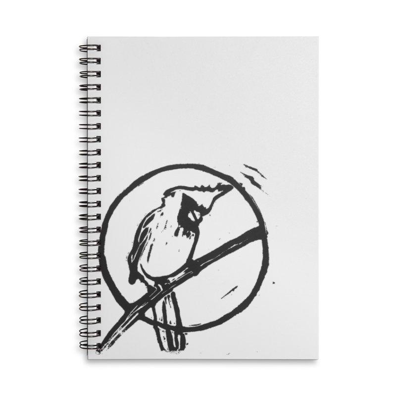 Linocut Cardinal Accessories Lined Spiral Notebook by LauraStockwell's Artist Shop