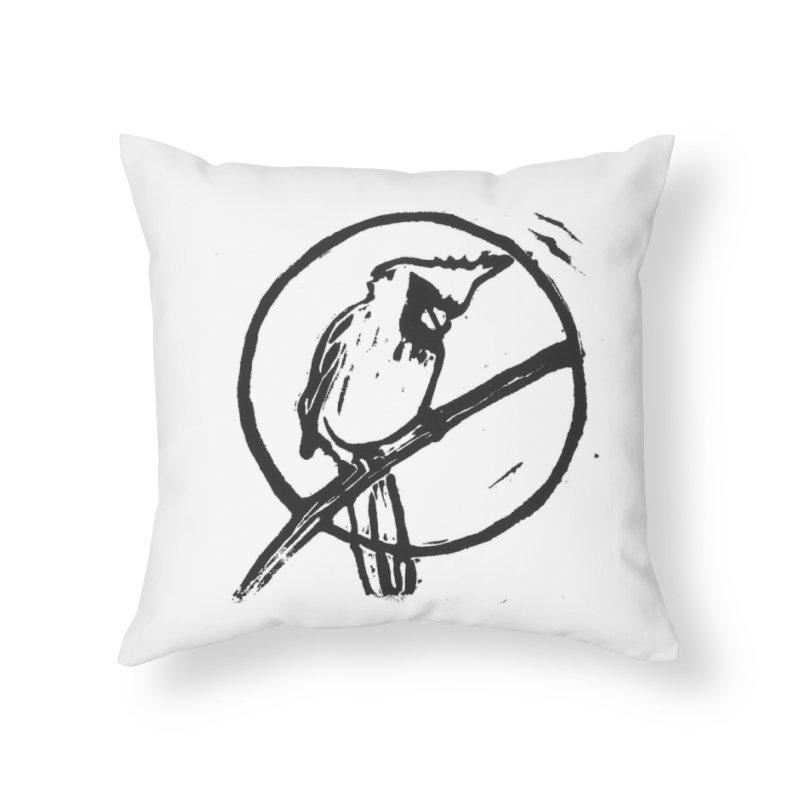 Linocut Cardinal Home Throw Pillow by LauraStockwell's Artist Shop