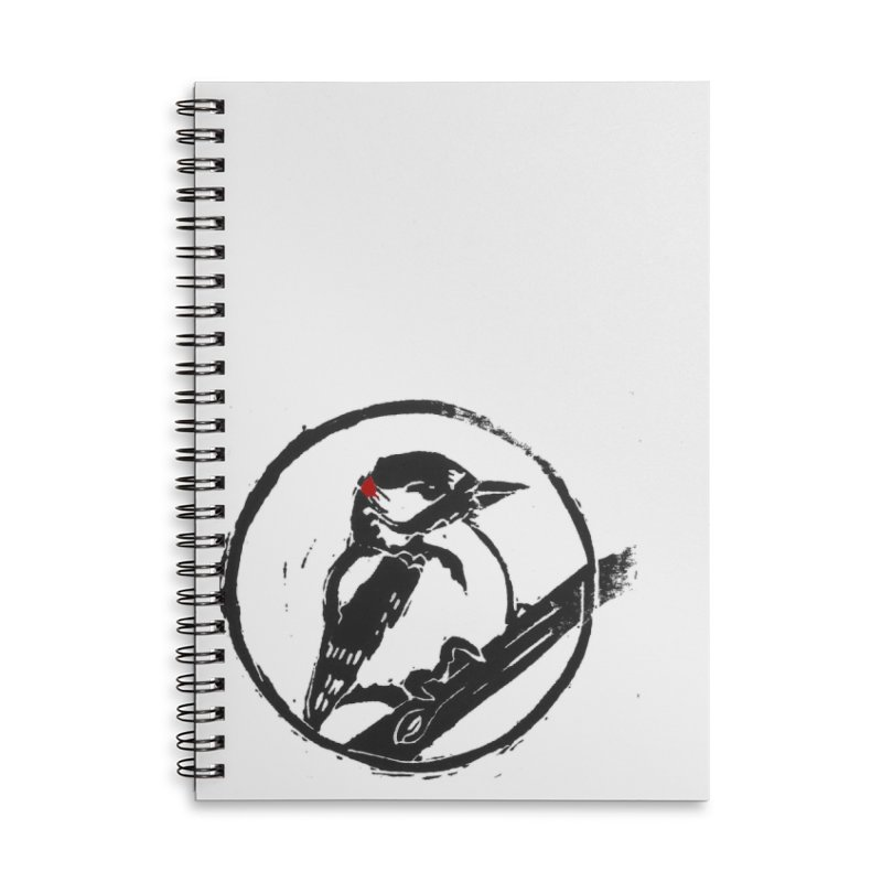 Downy Woodpecker Accessories Lined Spiral Notebook by LauraStockwell's Artist Shop
