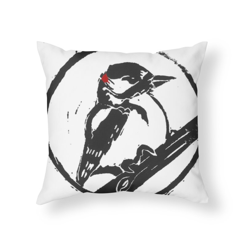 Downy Woodpecker Home Throw Pillow by LauraStockwell's Artist Shop