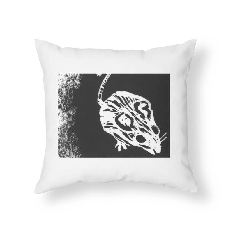 Linocut Mouse Home Throw Pillow by LauraStockwell's Artist Shop