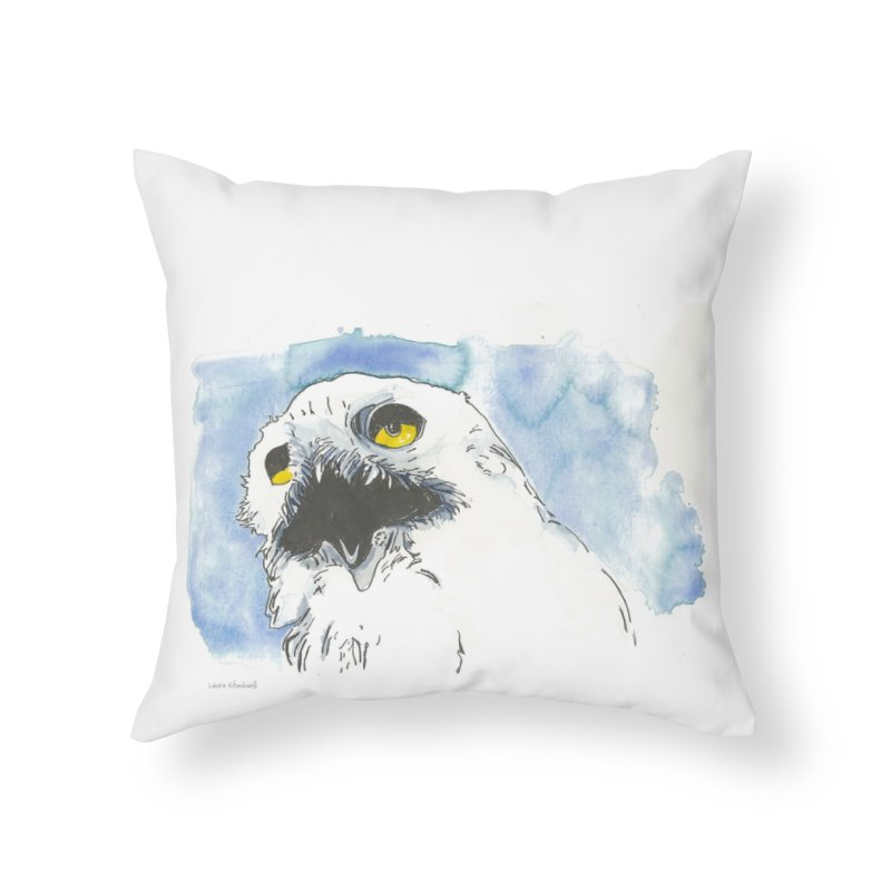Snowy Owl Home Throw Pillow by LauraStockwell's Artist Shop
