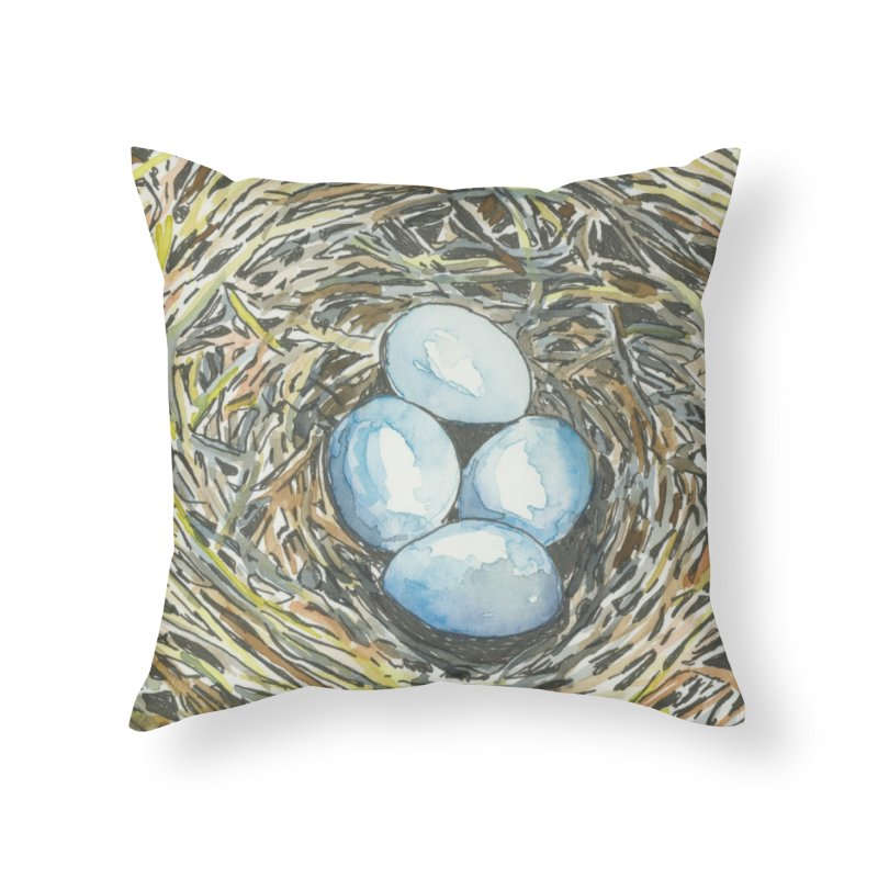 Robin's Nest Home Throw Pillow by LauraStockwell's Artist Shop