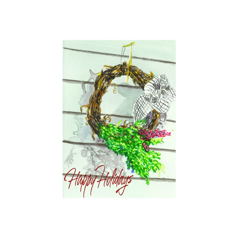 Wreath Holiday Card Accessories Greeting Card by LauraStockwell's Artist Shop