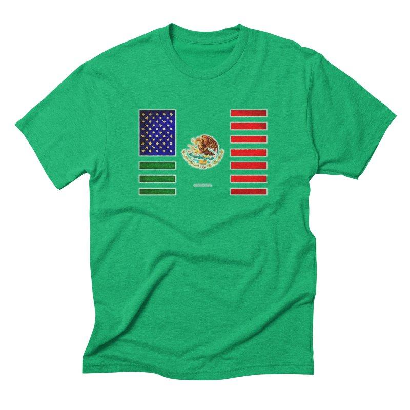MEXICAN AMERICAN FLAG Men's Triblend T-Shirt by LazyBonesStudios's Artist Shop
