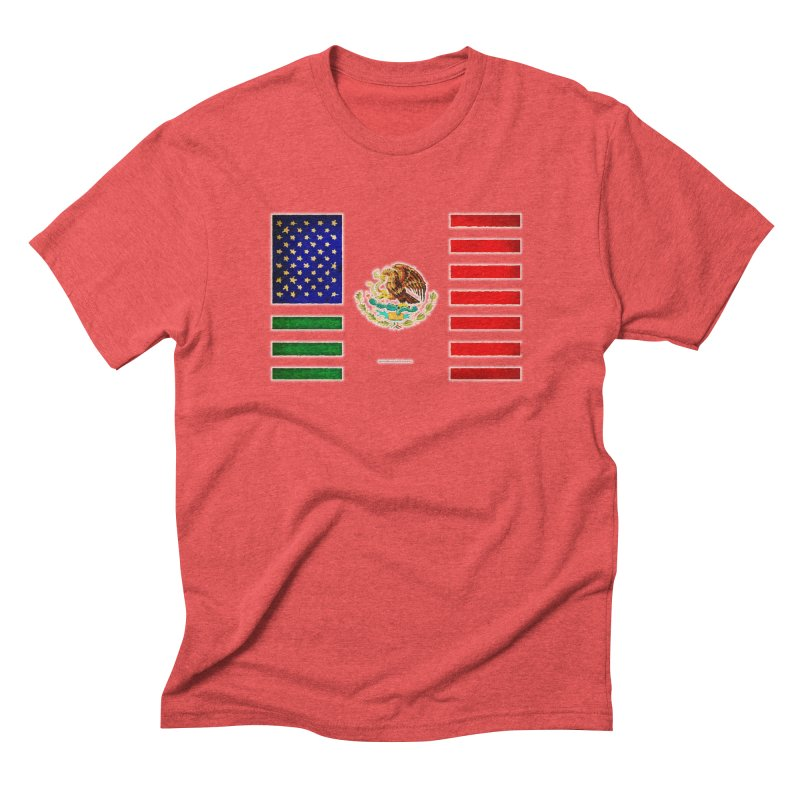 MEXICAN AMERICAN FLAG Men's Triblend T-Shirt by LazyBonesStudios's Artist Shop