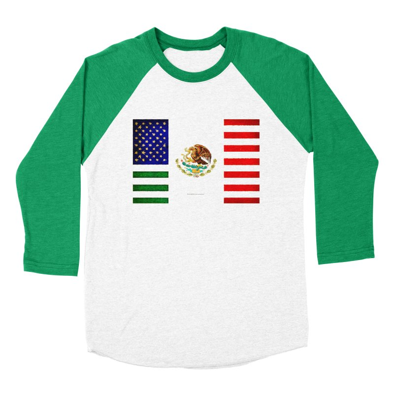 MEXICAN AMERICAN FLAG Men's Baseball Triblend T-Shirt by LazyBonesStudios's Artist Shop