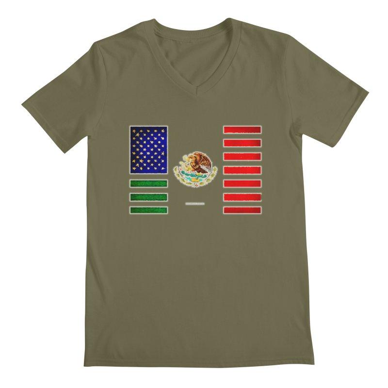 MEXICAN AMERICAN FLAG Men's V-Neck by LazyBonesStudios's Artist Shop