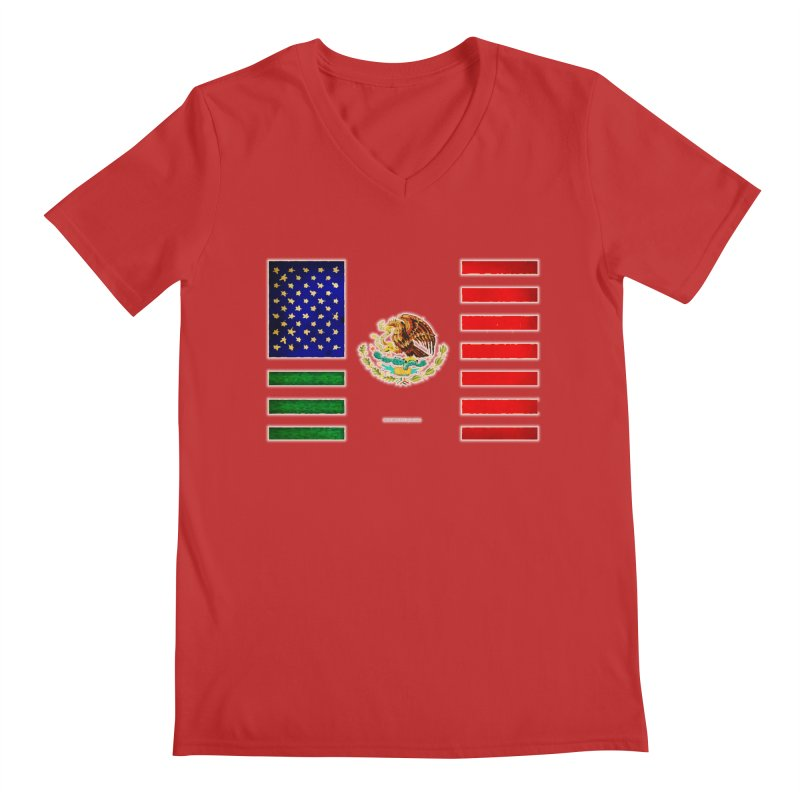 MEXICAN AMERICAN FLAG Men's V-Neck by LazyBonesStudios's Artist Shop