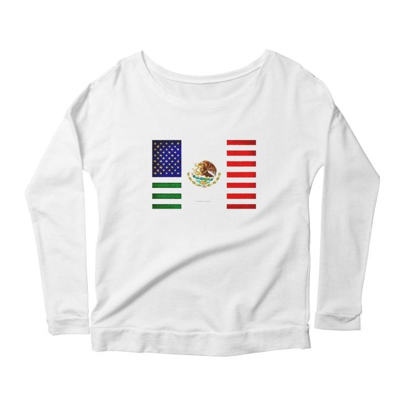MEXICAN AMERICAN FLAG Women's Longsleeve Scoopneck  by LazyBonesStudios's Artist Shop