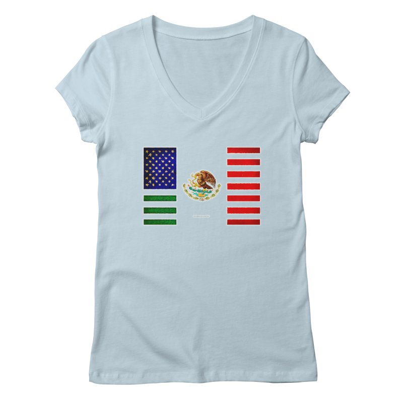 MEXICAN AMERICAN FLAG Women's V-Neck by LazyBonesStudios's Artist Shop