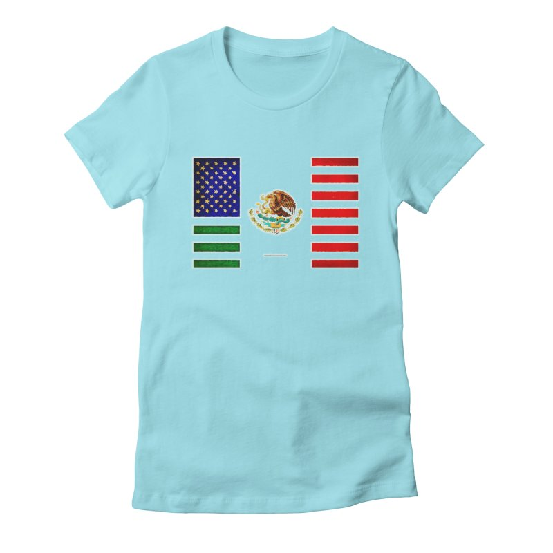 MEXICAN AMERICAN FLAG Women's Fitted T-Shirt by LazyBonesStudios's Artist Shop