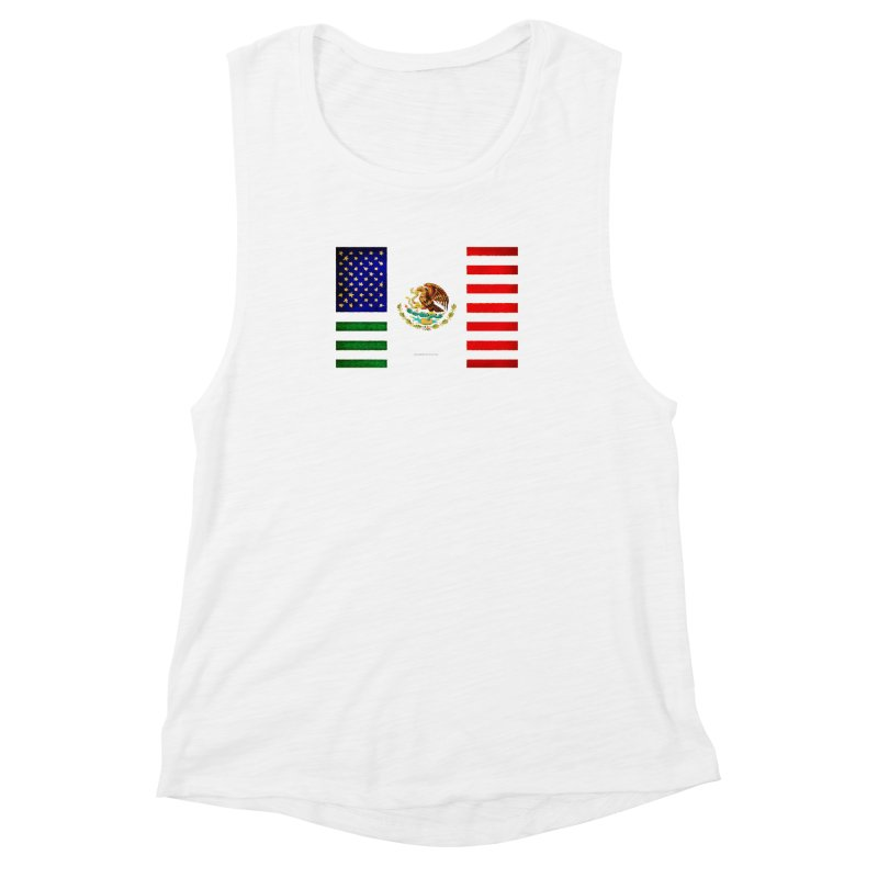 MEXICAN AMERICAN FLAG Women's Muscle Tank by LazyBonesStudios's Artist Shop