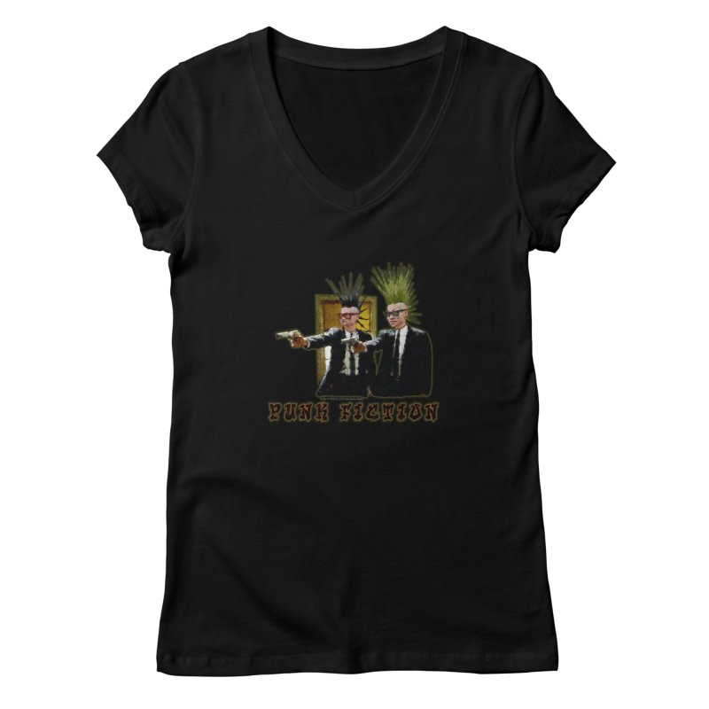 PUNK FICTION Women's V-Neck by LazyBonesStudios's Artist Shop