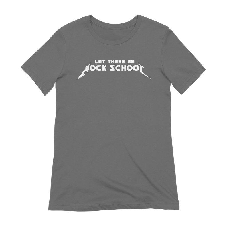 Rock School Metallica Inspired Logo White Print Women's Extra Soft T-Shirt by LetThereBeRock's Artist Shop