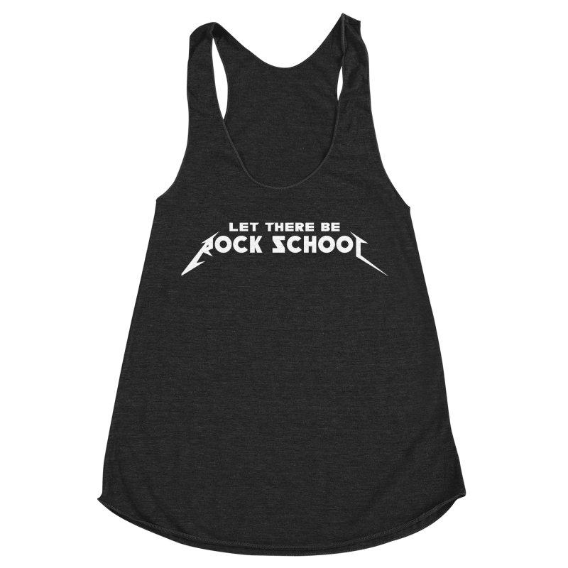 Rock School Metallica Inspired Logo White Print Women's Tank by LetThereBeRock's Artist Shop