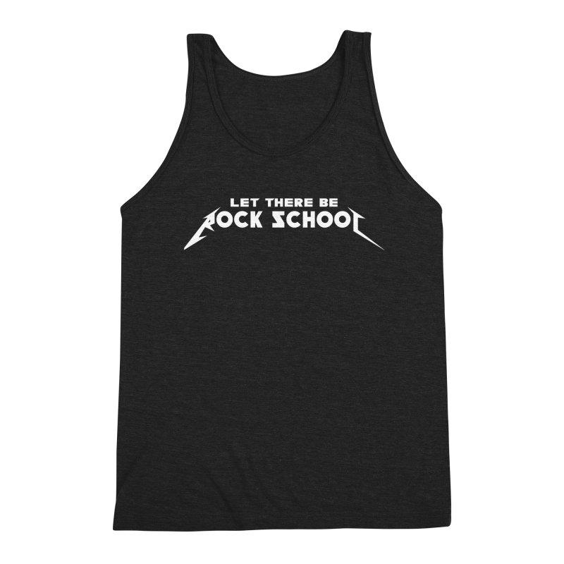 Rock School Metallica Inspired Logo White Print Men's Triblend Tank by LetThereBeRock's Artist Shop