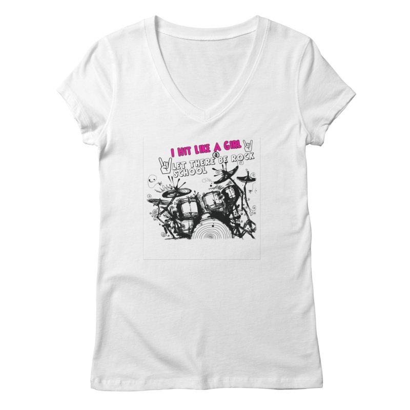Girl Drummers ROCK! Women's V-Neck by LetThereBeRock's Artist Shop