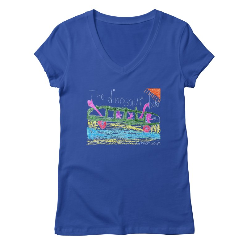 The Dinosaur Bus Women's Regular V-Neck by The Life of Curiosity Store