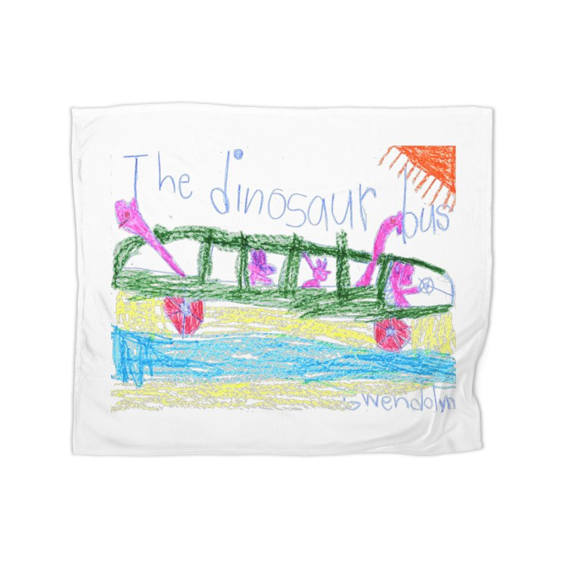 The Dinosaur Bus Home Fleece Blanket Blanket by The Life of Curiosity Store