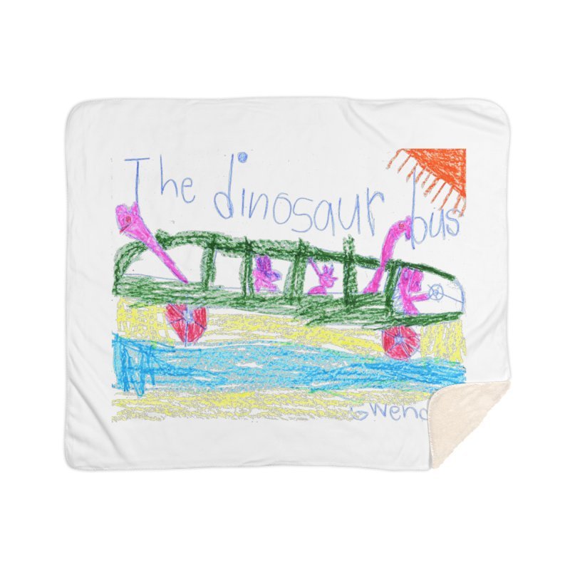 The Dinosaur Bus Home Sherpa Blanket Blanket by The Life of Curiosity Store