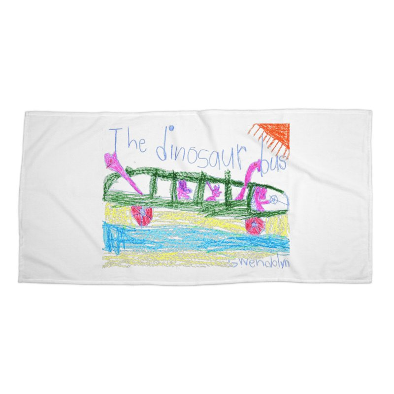 The Dinosaur Bus Accessories Beach Towel by The Life of Curiosity Store