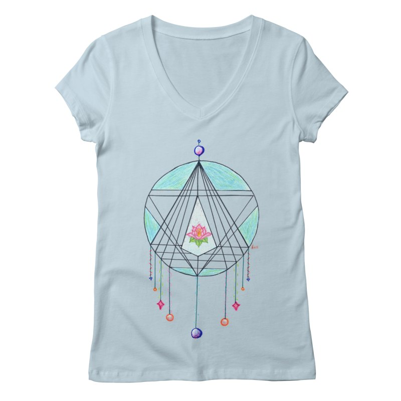 Dreamcatcher in Women's Regular V-Neck Baby Blue by The Life of Curiosity Store
