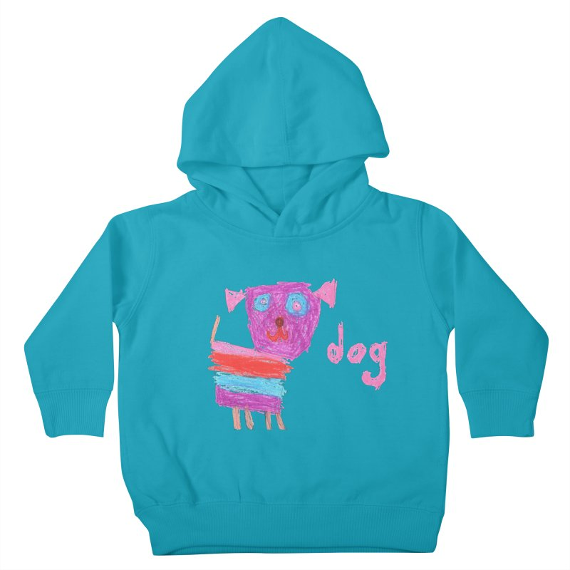 Dog in Kids Toddler Pullover Hoody Cyan by The Life of Curiosity Store