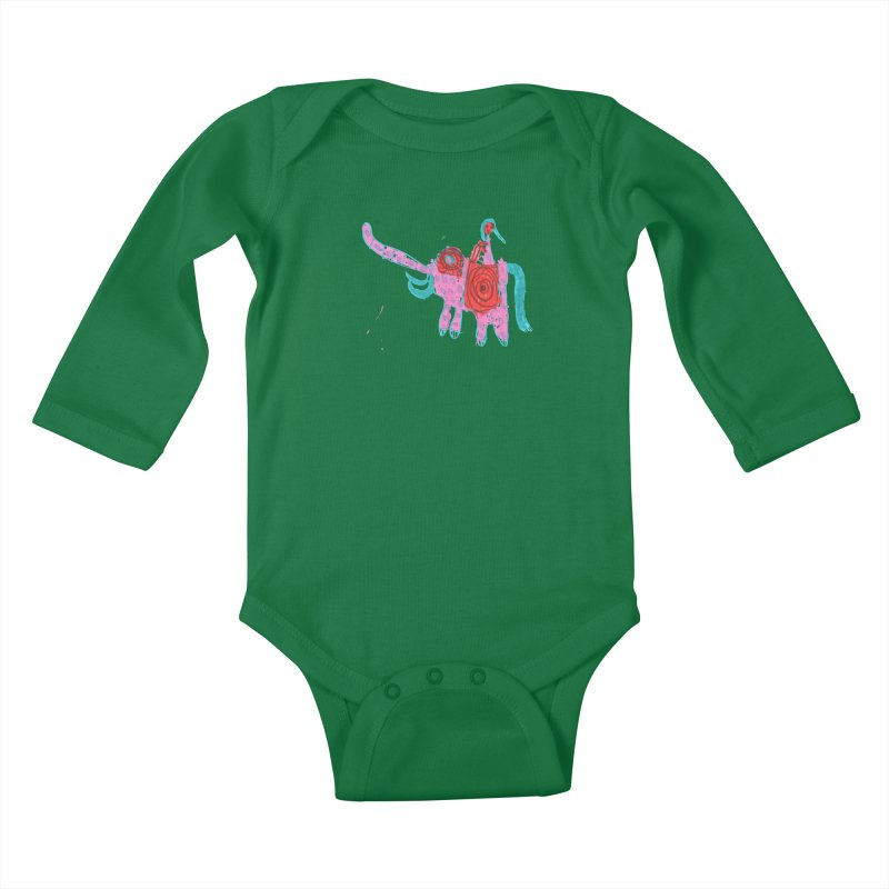 Elephant Rider Kids Baby Longsleeve Bodysuit by The Life of Curiosity Store