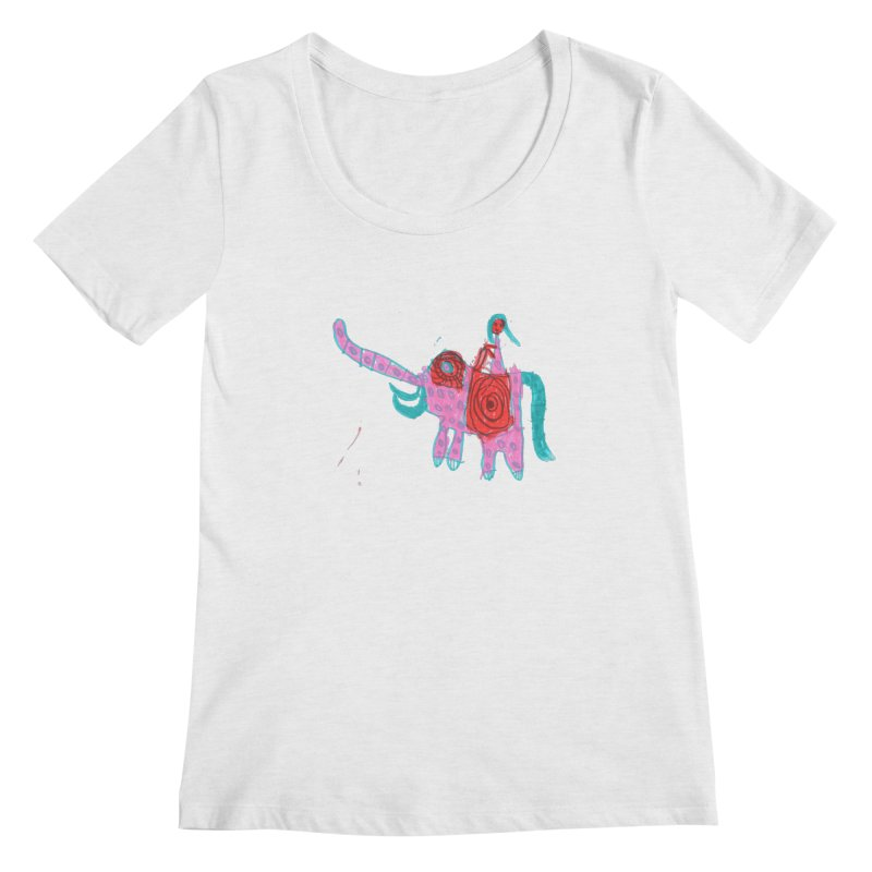 Elephant Rider Women's Regular Scoop Neck by The Life of Curiosity Store