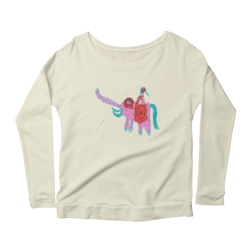 Elephant Rider Women's Scoop Neck Longsleeve T-Shirt by The Life of Curiosity Store