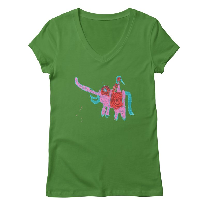 Elephant Rider Women's Regular V-Neck by The Life of Curiosity Store