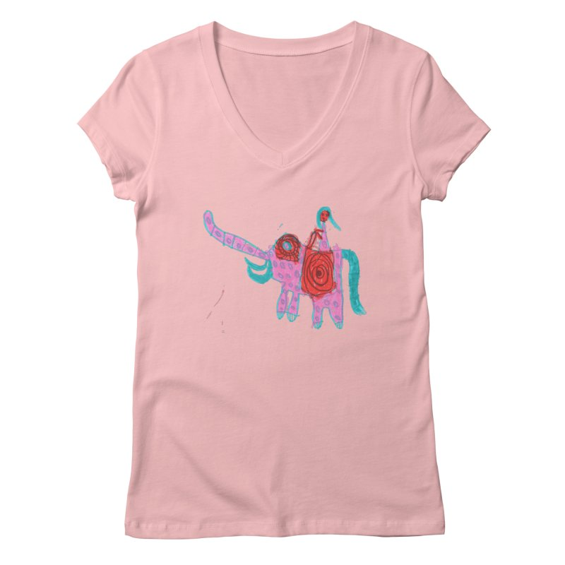 Elephant Rider Women's V-Neck by The Life of Curiosity Store