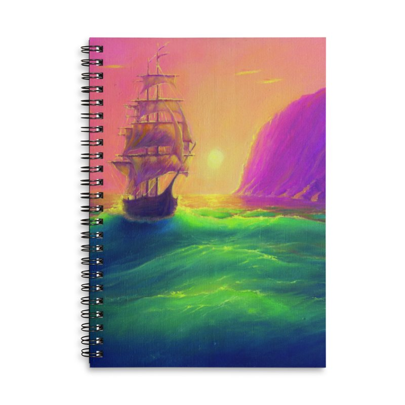 Boat at Sunset Accessories Notebook by LiftYourWorld's Artist Shop