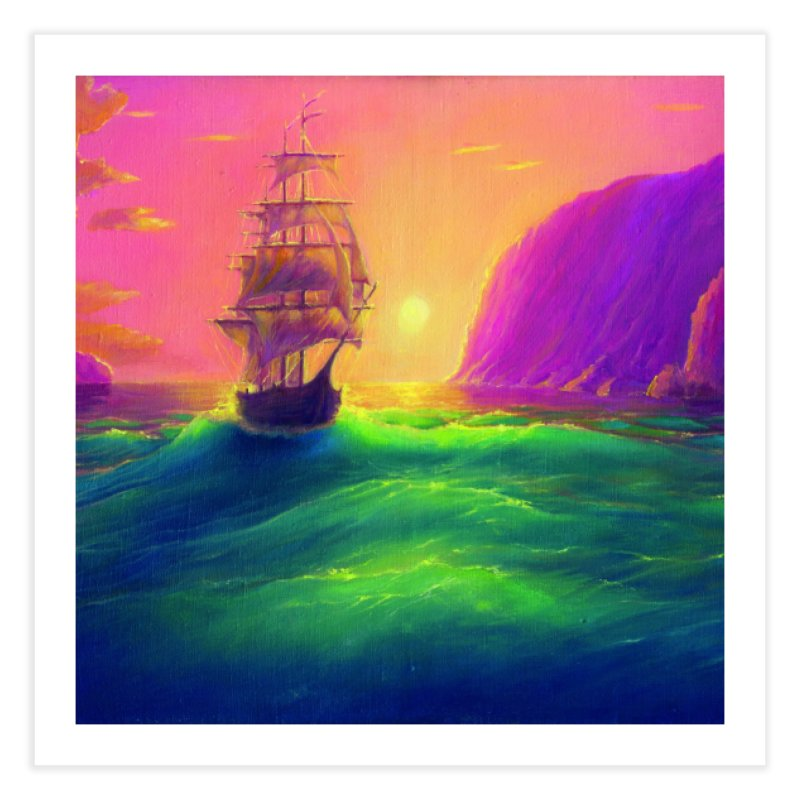 Boat at Sunset Home Fine Art Print by LiftYourWorld's Artist Shop