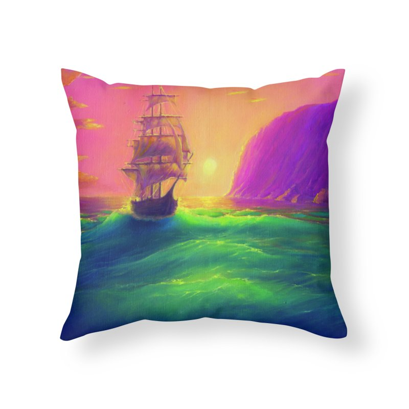 Boat at Sunset Home Throw Pillow by LiftYourWorld's Artist Shop