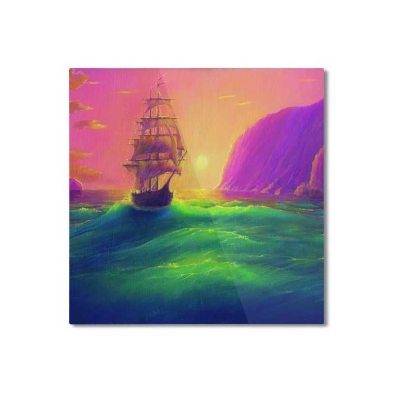 Boat at Sunset Home Mounted Aluminum Print by LiftYourWorld's Artist Shop